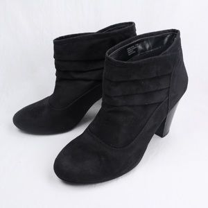 Studio Works Black Suede High Heel Ankle Boots
